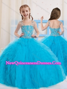 2016 Pretty Ball Gowns Scoop Beaded Little Girl Pageant Dress in Baby Blue