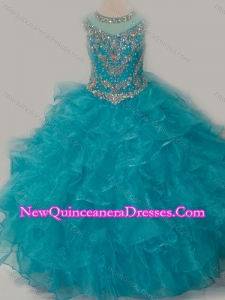 Cute Ball Gown Scoop Beaded Bodice Little Girl Pageant Dress with Lace Up