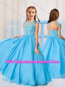 Cute Ball Gown Scoop Beaded Little Girl Pageant Dress in Aqua Blue
