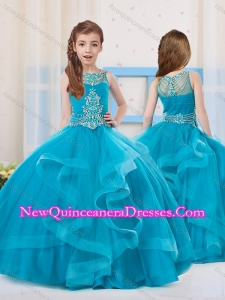 Cute Ball Gowns Organza Beaded Side Zipper Little Girl Pageant Dress with Scoop