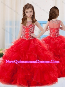 Cute Ball Gowns Scoop Organza Beaded Bodice Little Girl Pageant Dress with Side Zipper