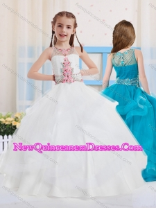 Cute Ball Gowns Scoop Organza Side Zipper Little Girl Pageant Dress with Beading