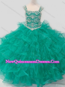 Cute Princess Straps Organza Turquoise Lace Up Little Girl Pageant Dress with Beading