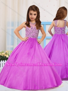 Most Popular Pincess Scoop Beaded Lilac Little Girl Pageant Dress
