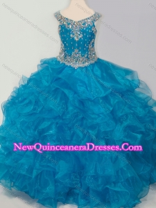 New Style Baby Blue Little Girl Pageant Dress with Beading and Ruffles