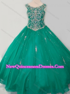 Cute Puffy Skirt Scoop Dark Green Little Girl Pageant Dress with Beading