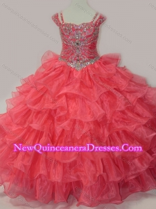 Cute Sweetheart Beaded Little Girl Pageant Dress with Spaghetti Straps in Coral Red