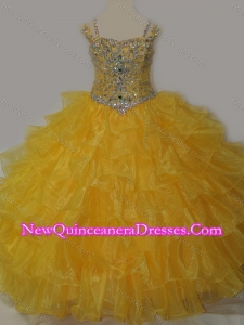 Cute Sweetheart Little Girl Pageant Dress with Spaghetti Straps in Yellow