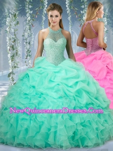 2016 Beautiful Halter Top Beaded and Ruffled Quinceanera Dress in Mint