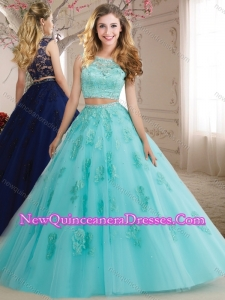 2016 Elegant Two Pieces See Through Scoop Beaded and Applique Quinceanera Dress in Aqua Blue
