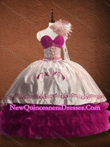 Customized Fuchsia and White Custom Made Quinceanera Dress with Ruffled Layers and Patter