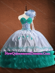 Elegant Embroidered and Patterned Organza and Taffeta Custom Made Quinceanera Dress in Turquoise and White