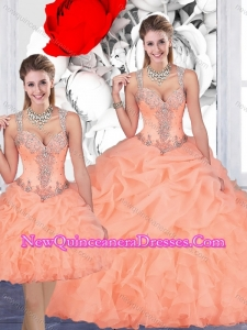 Most Popular See Through Back Beaded and Bubble Detachable Quinceanera Skirts in Organza
