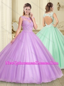 Simple Applique with Beading Scoop Quinceanera Dress in Lilac