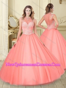 Simple See Through High Neck Quinceanera Dress with Beading and Appliques