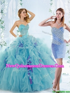 Unique Aque Blue Detachable Quinceanera Gowns with Beading and Ruffles