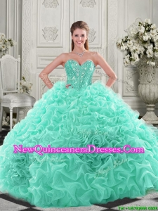 Unique Visible Boning Organza Apple Green Quinceanera Dress with Chapel Train