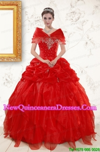 2015 Most Popular Sweetheart Beading Quinceanera Dresses in Red