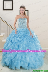 2015 Brand new Beading Apple Green Quinceanera Dresses