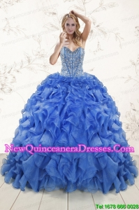 2015 Hot Sale Beaded Royal Blue Quinceanera Dresses with Sweep Train