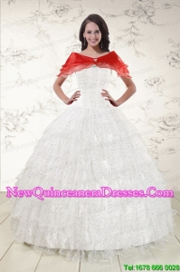 2015 White Ball Gown Formal Quinceanera Dresses with Sequins and Ruffles