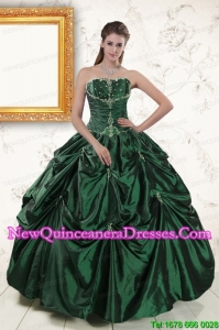 2015 Elegant Appliques Quinceanera Dresses in Dark Green