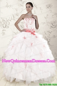 2015 Elegant Blue and White Quinceanera Dresses with Beading and Pick Ups