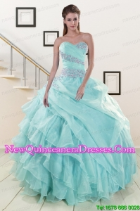 Beading and Ruffles Elegant Quinceanera Dresses in Turquoise for 2015