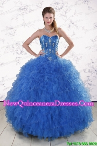Elegant Royal Blue 2015 Quinceanera Dresses with Appliques and Ruffles