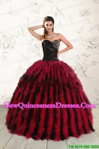 Elegant Sweetheart Ruffles and Beaded Quinceanera Dresses in Red and Black