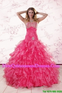 2015 Beautiful Sweetheart Hot Pink Quinceanera Dresses with Ruffles
