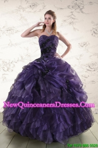 New Style Sweetheart Appliques Purple Quinceanera Dress for 2015