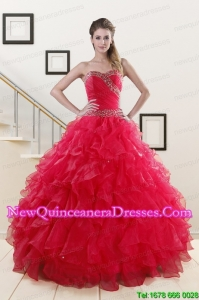 New Style Sweetheart Ball Gown 2015 Sweet 16 Dresses in Coral Red