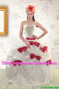 Beautiful White Quinceanera Dresses with Beading and Bowknots For 2015