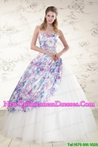 2015 Perfect Puffy Multi-color Quinceanera Dresses with Beading