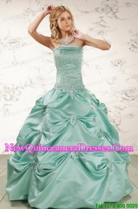 Beautiful Turquoise Quinceanera Dresses with Appliques and Pick Ups