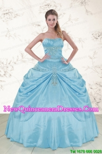 2015 Cheap Aqua Blue Strapless Sweet 15 Dress with Appliques