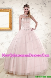 2015 Cheap Light Pink Beading Quinceanera Dresses