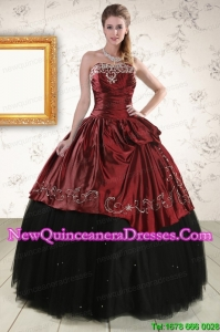 Cheap Ball Gown Embroidery 2015 Quinceanera Dresses in Rust Red and Black