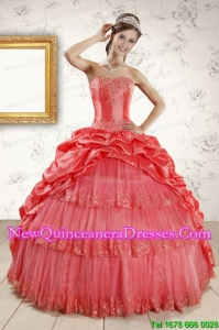 Custom Made Appliques Quinceanera Dresses in Watermelon