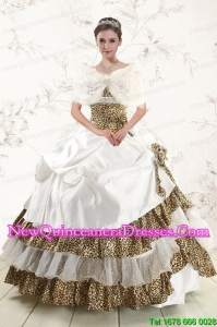 2015 Custom Made Strapless Leopard Quinceanera Dresses with Hand Made Flower