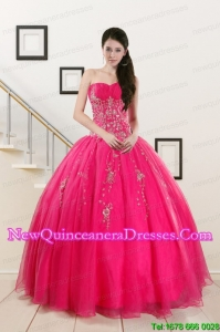 2015 Custom Made Sweetheart Hot Pink Quinceanera Dresses with Beading