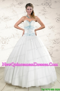 2015 Custom Made White Quinceanera Dresses with Appliques and Beading