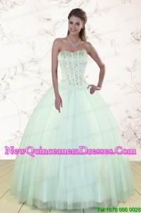 2015 Light Blue Custom Made Quinceanera Dresses with Beading