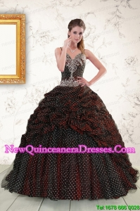 Custom Made Spaghetti Straps Burgundy Sweet 15 Dresses with Appliques and Pick Ups