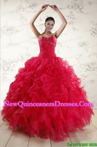 Custom Made Sweetheart Beading 2015 Quinceanera Dresses in Red