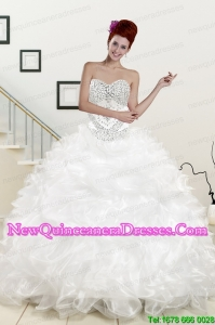 Custom Made Sweetheart Sweep Train Beading and Ruffles Quinceanera Dress for 2015