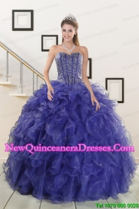 2015 Custom Made Sweetheart Purple Quinceanera Dresses with Beading and Ruffles