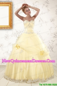 2015 Cute Beading Light Yellow Discount Quinceanera Dresses