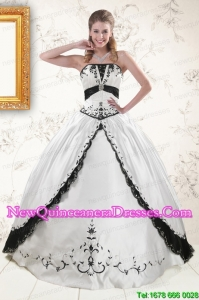 2015 Discount Embroidery Quinceanera Dresses in White and Black